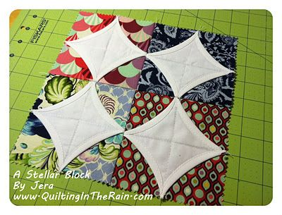 Cathedral Windows using only charm squares (from Quilting in the Rain)