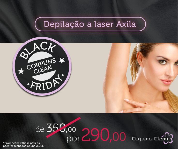 PROMOÇÃO BLACK FRIDAY!  Depilação a laser nas axilas com preço de buço é só na Black Friday da Corpuns Clean. Corra e feche o seu pacote até amanhã para garantir o seu desconto!   Belo Horizonte: (31) 3384-7769 Conselheiro Lafaiete: (31) 3721-3999 www.corpunsclean.com