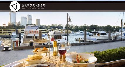 Stylish waterfront steak & seafood restaurant  Long Lunch on the Wharf is King here. Kingsleys takes surf & turf to a new level with succulent steaks, fresh salads & delicious crab.  ADDRESS: 10/6 Cowper Wharf Road #wooloomooloo #sydney   PHONE : +61 1300 546 475 HOURS : Daily from 12pm
