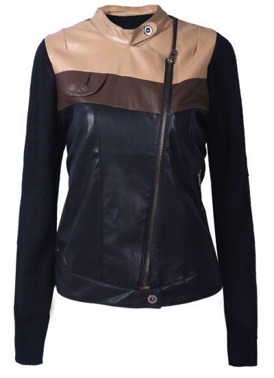 Khaki Black Stand Collar Long Sleeve PU Jacket