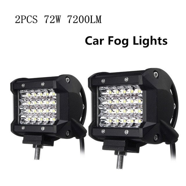 2pcs Foggy Lights 72w Car Fog Lights Ip68 Waterproof Auto Back Light Led Driving Work Light White 24pcs Led Chips Spotlight Work Lights Driving Work Led Lights