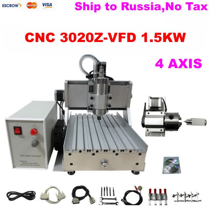 (Russain no tax!) 4 Axis CNC 3020 Mini CNC Router, 4axis Engraving Machine with Ball Screw 1500W Spindle Motor for metal milling