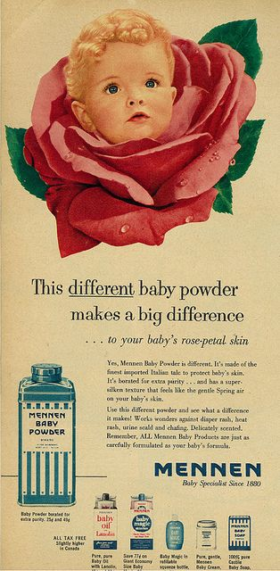 "1953 Illustrated Ad, Mennon Baby Powder, ""Your Baby's Rose-Petal Skin"""