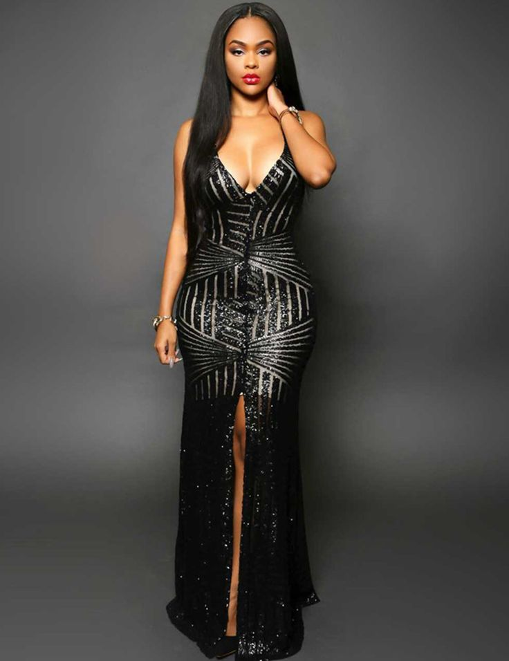 VI1033 Striped Sequins Nude Long Dress V-Neck Sleeveless Slit Front Backless Sequins Dress Hot Sale Sexy Club long party dress >>> To view further for this item, visit the image link.