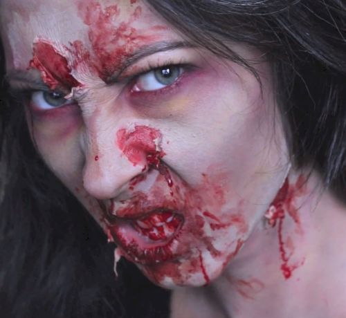 Katie Satow transforms into a zombie! zombie, cosplay, transformation, makeup