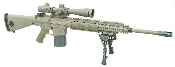 A US Army M110 - the M110 is similar to the MK 11 Mod O except for : - URX modular rail system - adjustable stock - flash hider - 1-piece scope mount