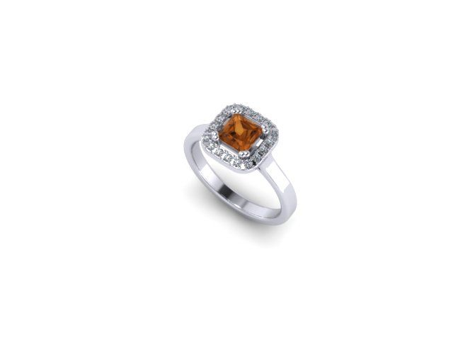 Colour Collection - Citrine, diamond and White Gold Ring
