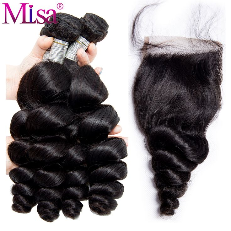 Mi Lisa Human Hair Loose Wave 3 Bundles With Lace Closure Free Part 4 Pc/Lot Brazilian Hair Weave Bundles with lace Closure Remy Hair Extensions
