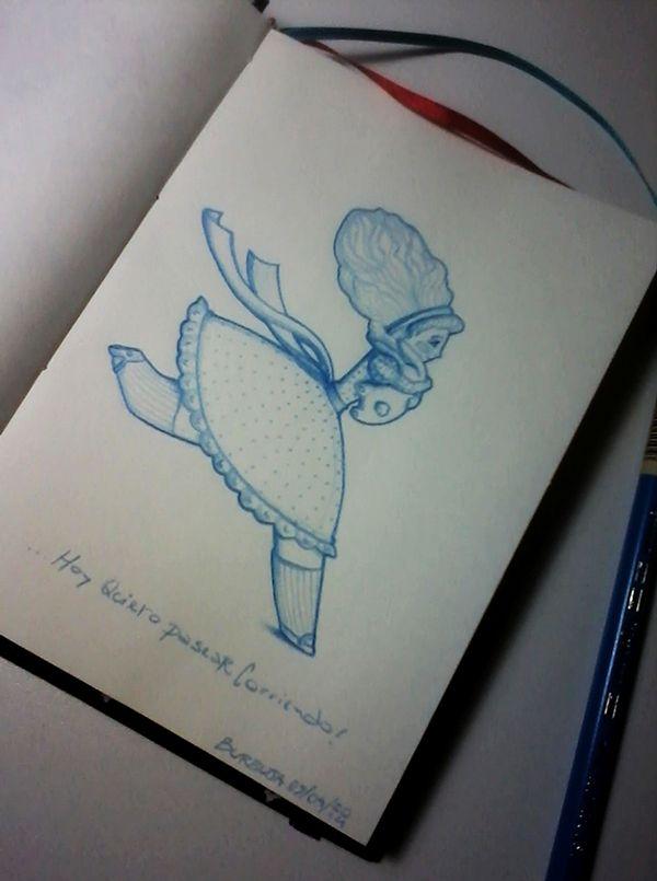 Alis y Tom: ...Hoy quiero pasear corriendo! Sketchbook+lápiz azul.