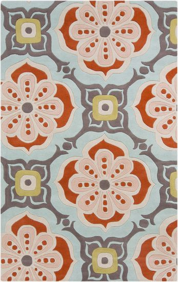 blue coral and pink make for a cute flower print on this wool rug