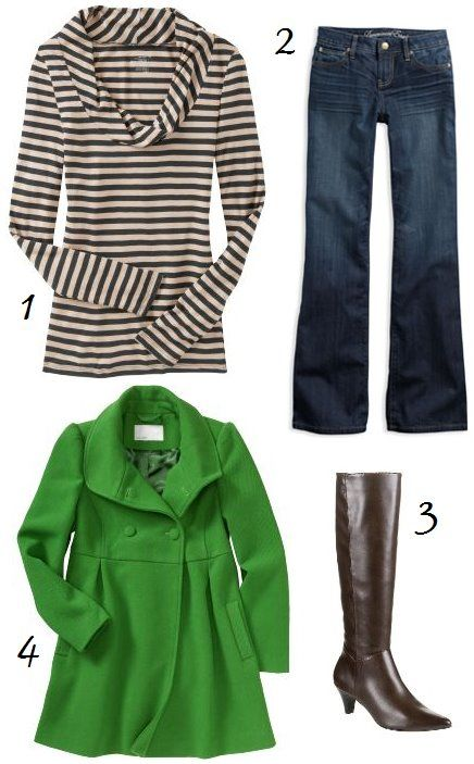 love the striped cowl neck. and the green pea coat.