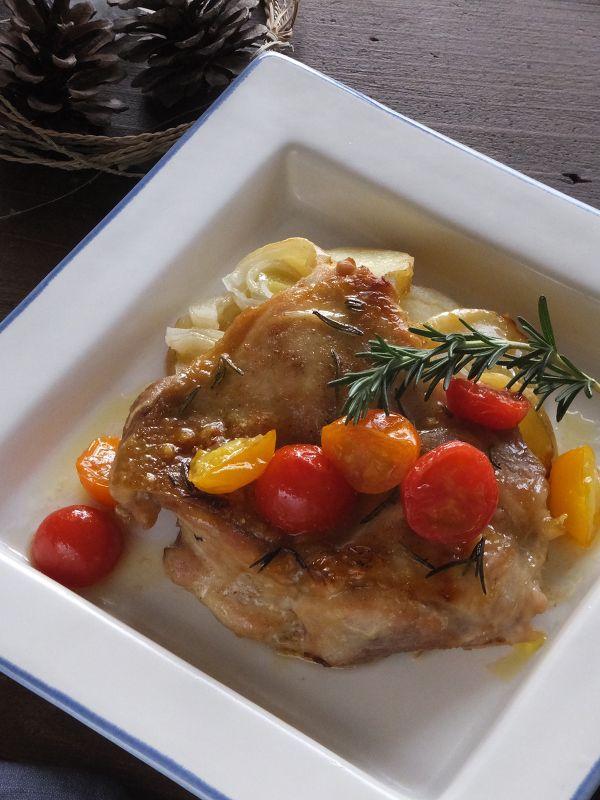 鶏のオーブン焼き ミニトマトのはちみつレモンソース