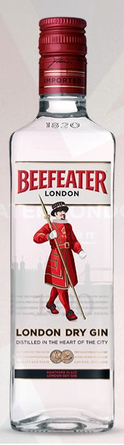 Beefeater Gin. 40% ABV. Classic. One of the world's best selling gins. clean flavour, with a bold juniper character that is balanced with strong citrus notes. Juniper, lemon peel, coriander sees, almond, Seville orange peel, orris root, liquorice root, angelica root, angelica seeds.