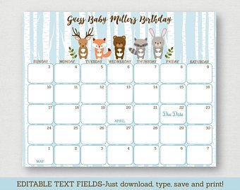 Blue Woodland Animal Baby Shower Due Date Calendar / Woodland Baby Shower / Birthday Predictions / INSTANT DOWNLOAD Editable PDF A448