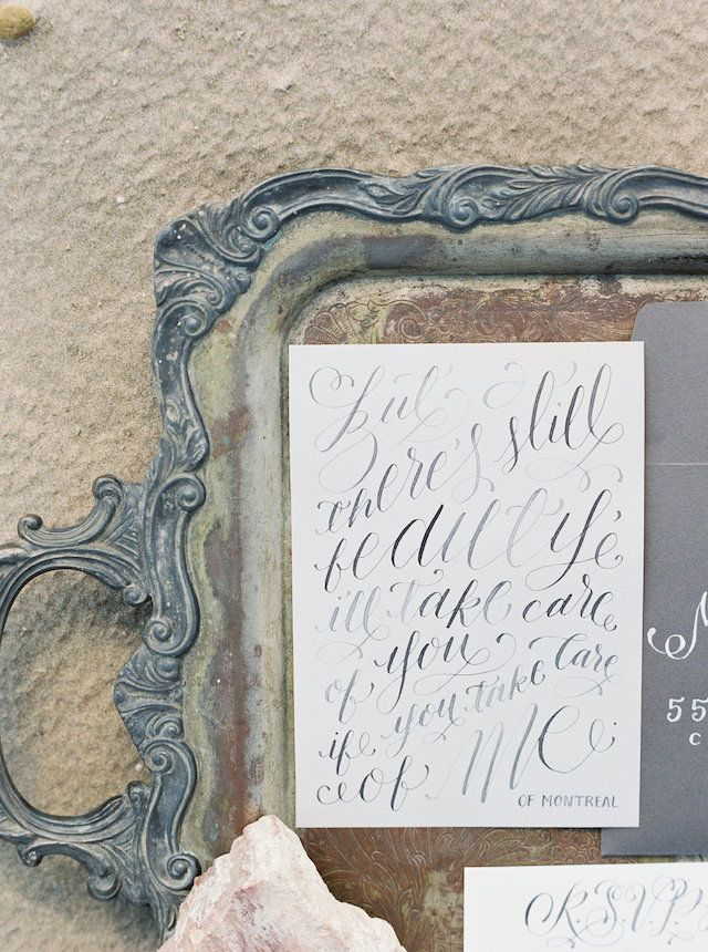 Calligraphy wedding invitation | Kyle John Photography | see more on: http://burnettsboards.com/2014/07/poetic-ocean-themed-bridal-editorial/