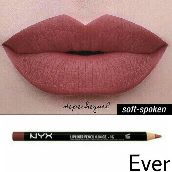 NYX Lip Bundle NYX Liquid Suede- Soft-Spoken NYX Slim Lip Pencil- Ever NYX Makeup Lipstick