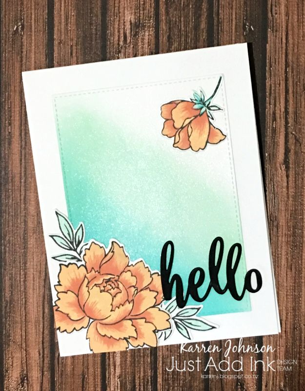 Welcome to the latest Just Add Ink  challenge, where this week we have a colour challenge for you - peach, pool and aqua/teal. I used my ne...
