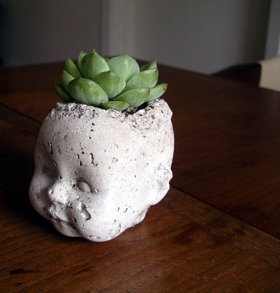 Bart: Concrete hypertufa baby head planter. tea light holder. paperweight (no plant included)
