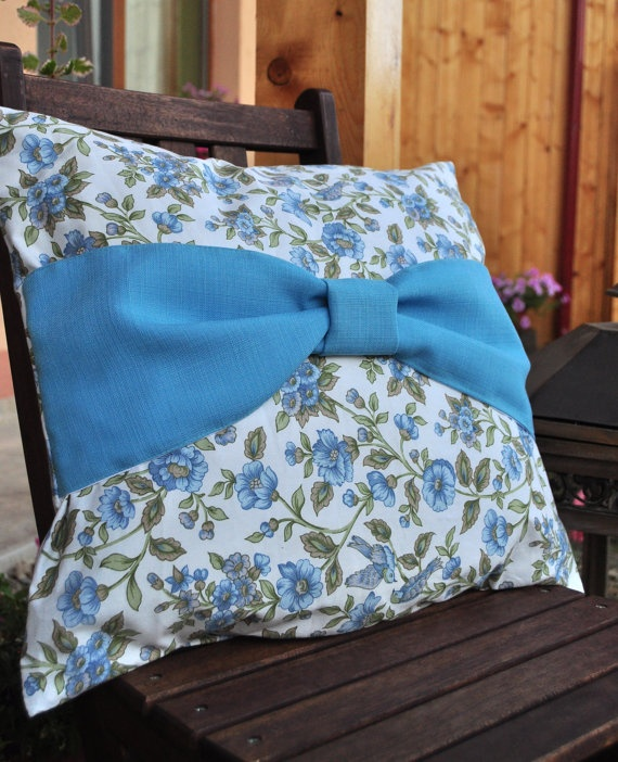 Blue bow pillow by AliCards on Etsy, $17.00