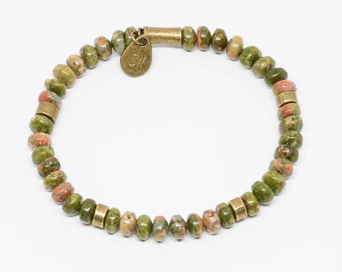 Unakite and Brass with Hand-stamped Pendant - Handmade Stretch Bracelet, Womens Bracelet, Mens Bracelet