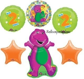 BARNEY SECOND BIRTHDAY party supplies balloons TWO 2ND