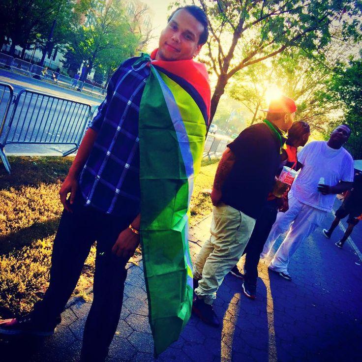 Guyanese man with flag