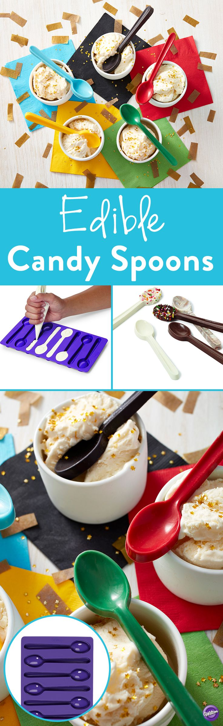 How to Make Candy Spoons - Top off your drinks with edible candy spoon stirrers. The easy-to-use Wilton Spoon-Shaped Silicone Candy Mold makes perfect spoons made using your favorite flavor Candy Melts candy. Just melt Candy Melts candy in the microwave. Fill mold and let chill. Makes 8 spoons. Mold size is 11.44 in. x 5.88 in.