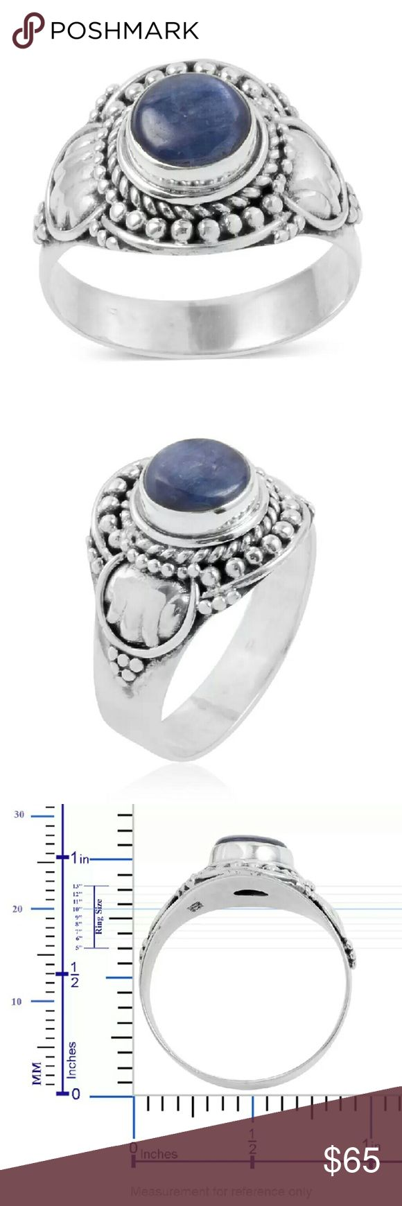 BALI HANDCRAFTED STERLING SILVER RING BALI LEGACY COLLECTION HANDCRAFTED GENUINE HIMALAYAN KYANITE RING SET IN PURE 925-STERLING SILVER/NICKEL FREE-TCW-2.270 BALI LEGACY COLLECTION Jewelry Rings