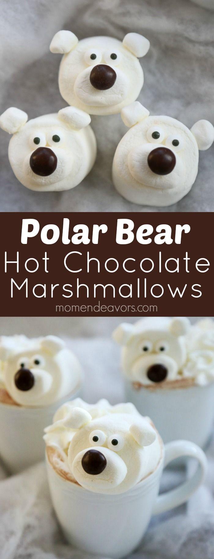 Polar Bear Hot Chocolate Marshmallows // Chocolate caliente con osos polares de nubes