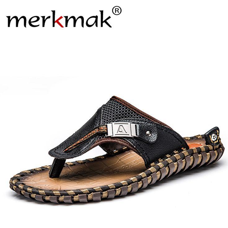 Merkmak Luxury Brand 2017 New Men's Flip Flops Genuine Leather Slippers Summer Fashion Beach Sandals Shoes For Men Big Size 45 #shoes, #jewelry, #women, #men, #hats, #watches, #belts