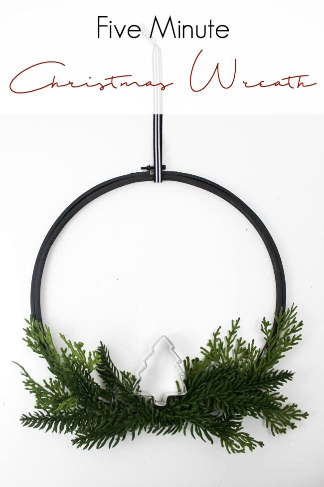 The perfect DIY Christmas wreath for the holiday season. Make this easy embroidery hoop wreath in just five minutes with some spray paint, a bit of greenery, and a cookie cutter! Love this modern holiday idea!