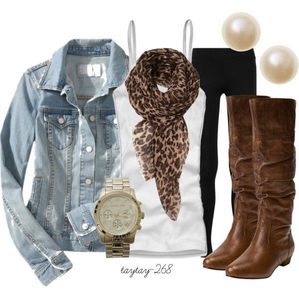 Denim Jacket & Leopard Scarf Outfit.