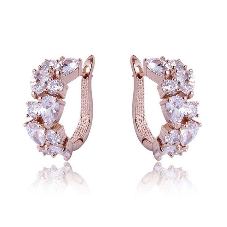 Luxury Rose Gold Plated Mona Lisa Stud Earrings For Women with Colorful Zircon Crystal Wedding Jewelry Earrings
