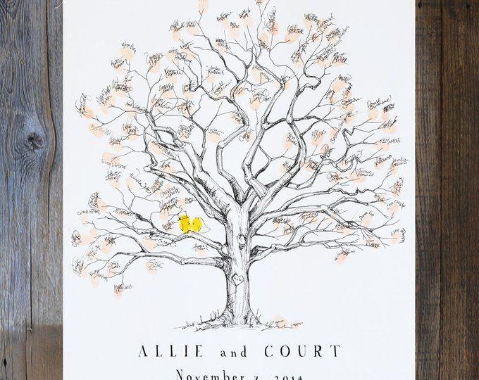 Fingerabdruck Baum Hochzeit Gästebuch Alternative Fingerabdruck