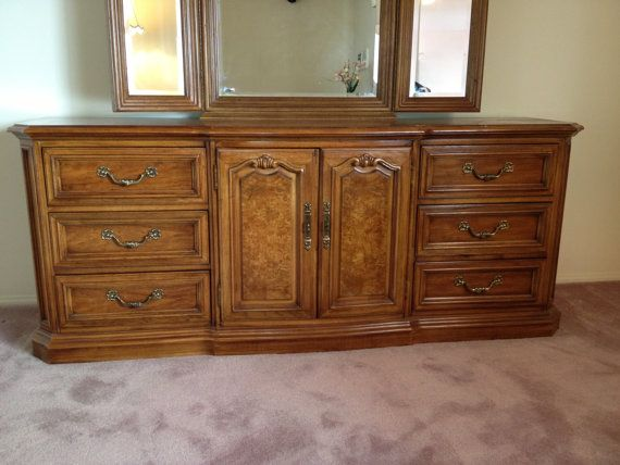 Thomasville furniture french provincial bedroom set large walnut dresser triple dresser - Thomasville bedroom furniture ...