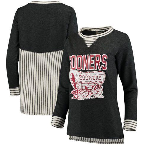 Oklahoma Sooners Women's Striped Panel Oversized Long Sleeve Tri-Blend Tunic Shirt - Charcoal