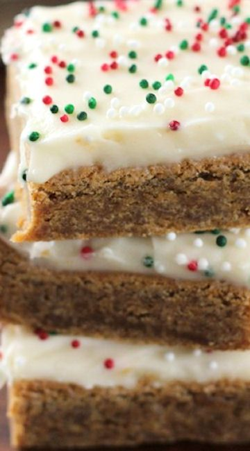 Gingerbread Bars with Eggnog Cream Cheese Frosting More