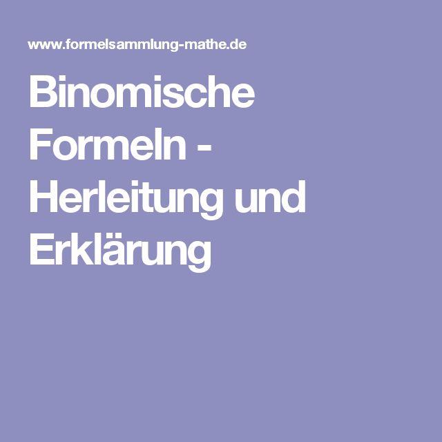 Binomische Formeln - Herleitung und Erklärung