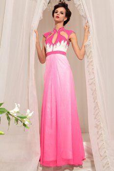 Elegant bag shoulder collar pink long paragraph evening dress