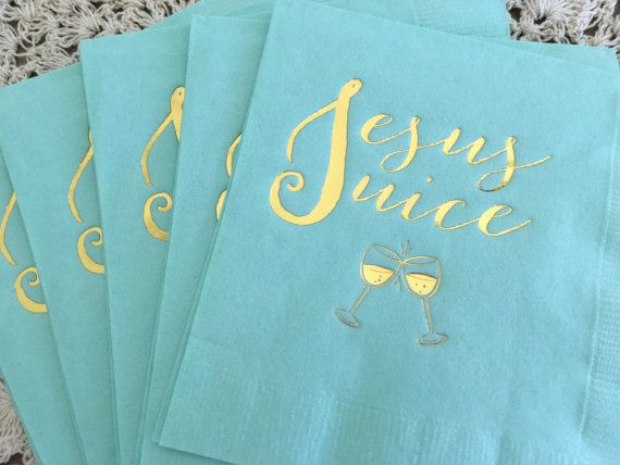 Real Housewives of New York, Jesus Juice, cocktail napkin, beverage napkin, Brandi quote funny napkin Little Plano Up in here party napkin by EatCoutureCupcakes