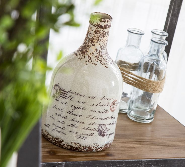 Modern Farmhouse Home Decor Glass Vase With Rustic Writing And Home Decorative Accents
