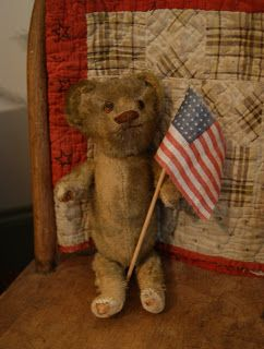 Patriotic little bear, possibly Ideal