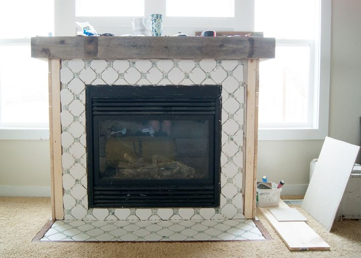 Fireplace Makeover Octagon Amp Dot Tile Living Room And