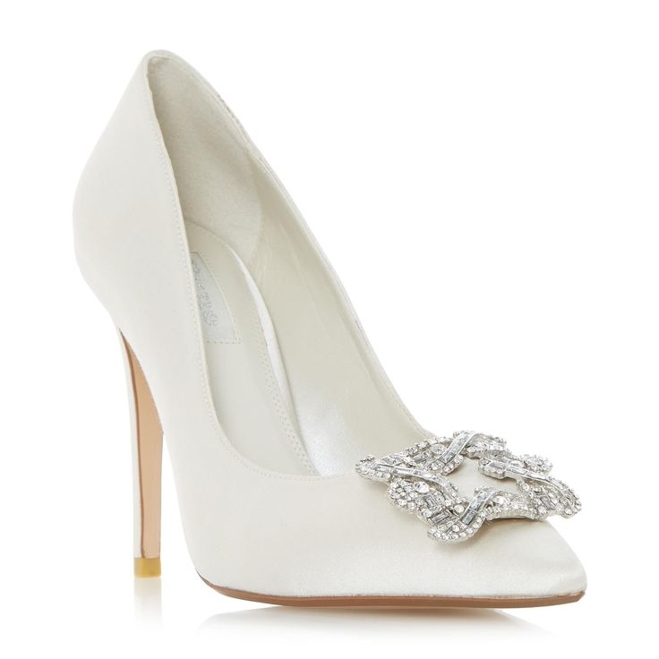DUNE LADIES BREANNA - Jewelled Square Brooch Pointed Toe Court Shoe - ivory | Dune Shoes Online