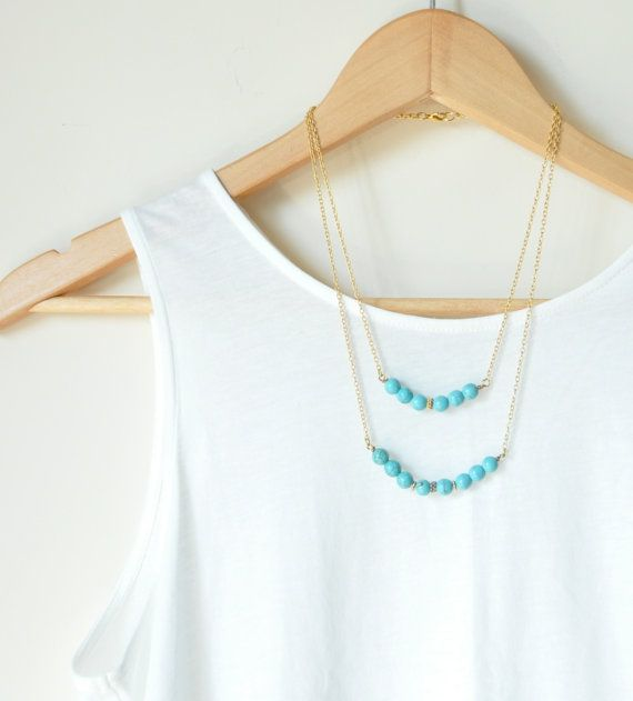 turquoise necklace,  gold chain,  long necklace, inspired by Native American necklace,  tribal necklace, on Etsy, $23.90