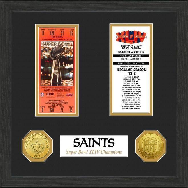 New Orleans Saints Super Bowl Ticket Collection Plaque Z157-3320474480