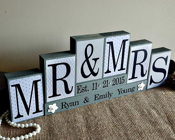 Personalized Mr And Mrs Wedding Sign Wooden Blocks Wedding Reception Sweet Heart Table Photo Pro Creative Wedding Gifts Wedding Gift Signs Wood Wedding Signs