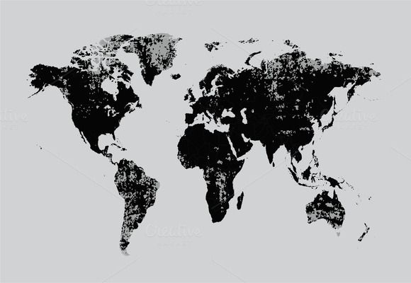 Mejores 102 imgenes de world maps en pinterest mapas del mundo grunge world map black vector gumiabroncs Images