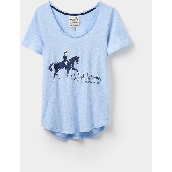 Badminton Blue Marl T-Shirt | Joules UK (51 AUD) ❤ liked on Polyvore featuring tops, t-shirts, joules tops, joules t shirt, blue tee, blue t shirt and marled tee