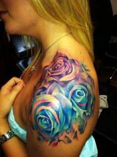 Amazing watercolor rose tattoo on shoulder for girls | DIY Watercolor Tattoo